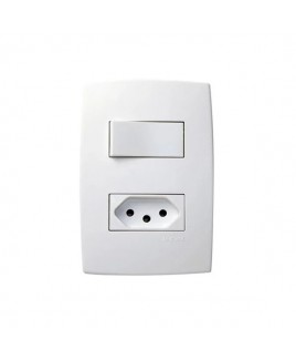 Conjunto Interruptor Simples 10A / Tomada 10A Pial Plus Pial Legrand