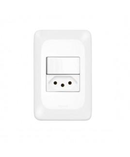 Conjunto  Interruptor Simples 10A/Tomada de Energia 10A Pial Pop Pial Legrand