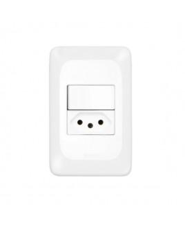Conjunto  Interruptor Simples 10A/Tomada de Energia 20A Pial Pop Pial Legrand