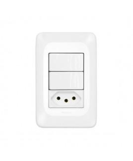 Conjunto 2 Interruptores Simples 10A/Tomada Energia 10A Pial Pop Pial Legrand