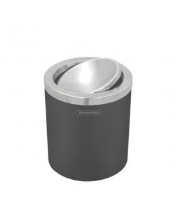 Lixeira Preta e Inox Polido Basculante 94540/024