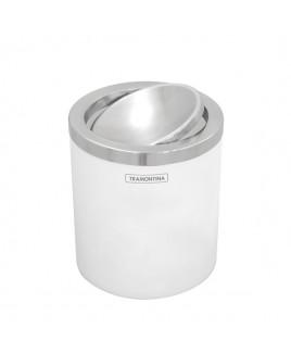 Lixeira Branca e Inox Polido Basculante 94540/026